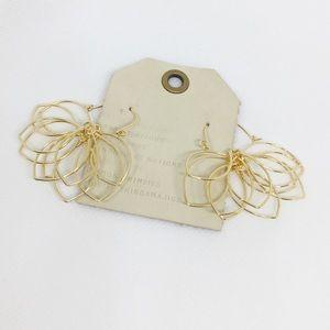 NWT Anthropologie Gold Floral Hoop Earrings
